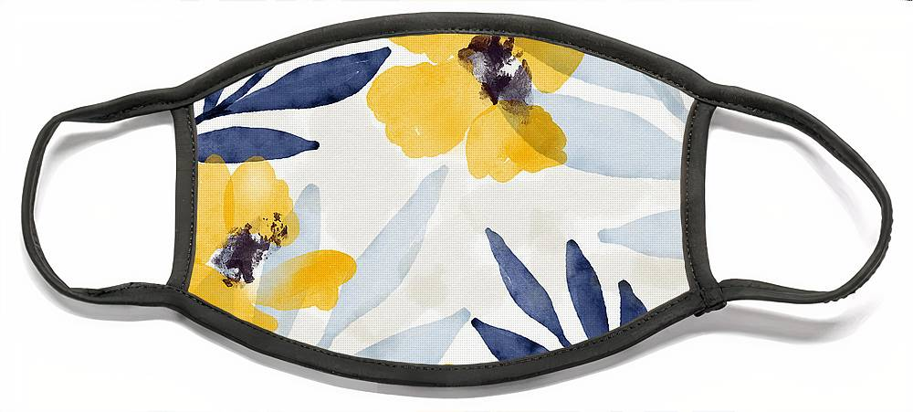 Flowers Face Mask featuring the mixed media Yellow and Navy 1- Floral Art by Linda Woods by Linda Woods
