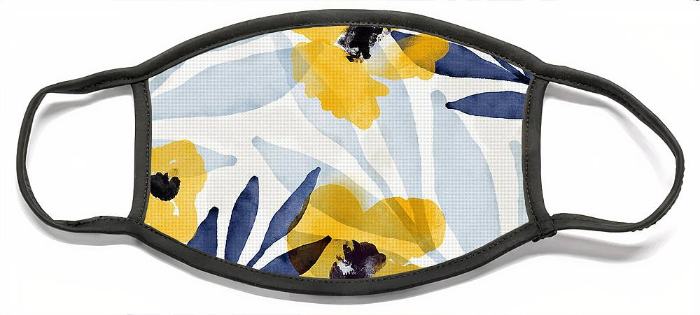 Flowers Face Mask featuring the mixed media Yellow and Navy 2- Floral Art by Linda Woods by Linda Woods