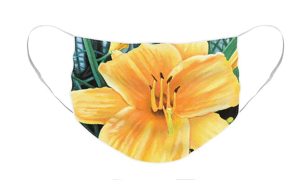 Yellow Face Mask featuring the painting Yellow Hibiscus by Christopher Spicer