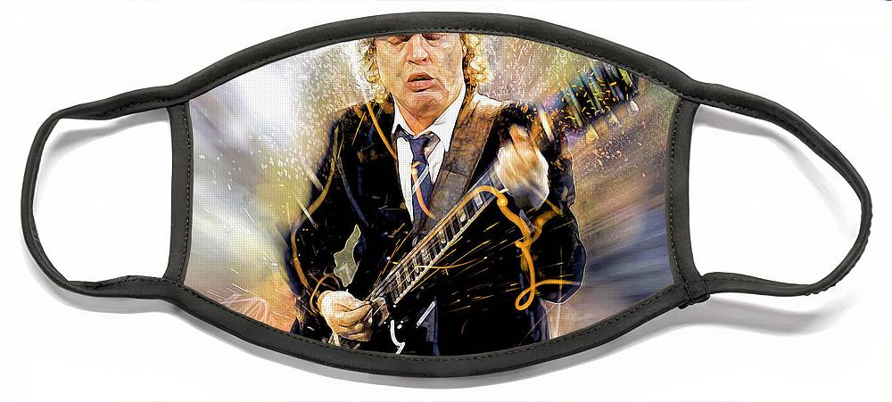 Angus Young Face Mask featuring the digital art You've been thunderstruck by Mal Bray