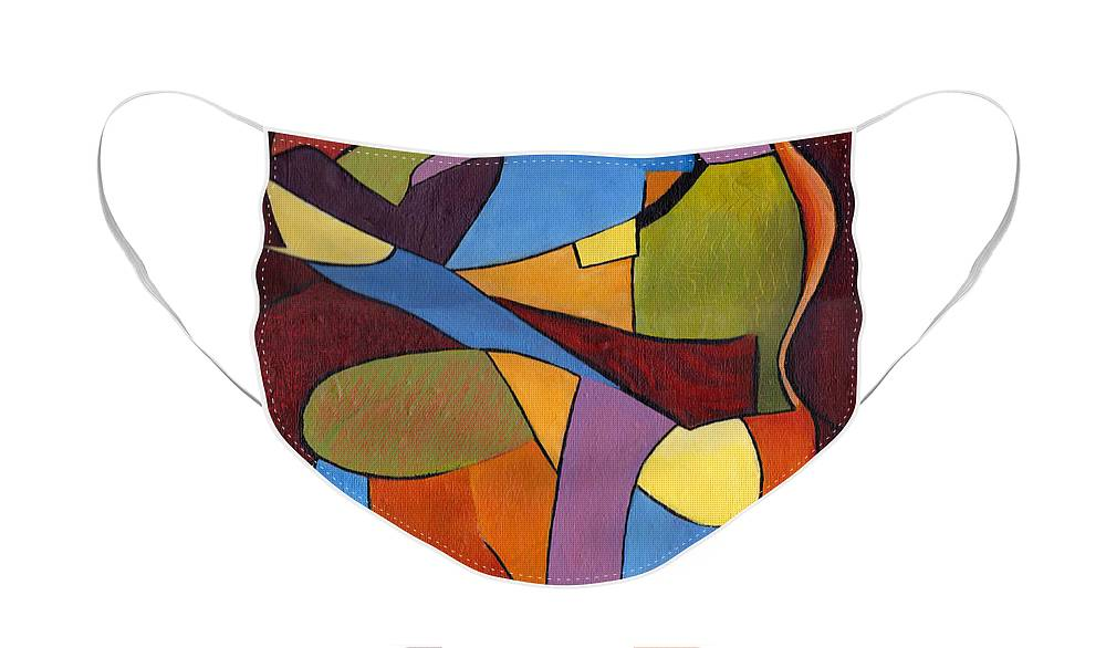 Colorful Purple Face Mask featuring the painting Color and Shapes by Patricia Cleasby
