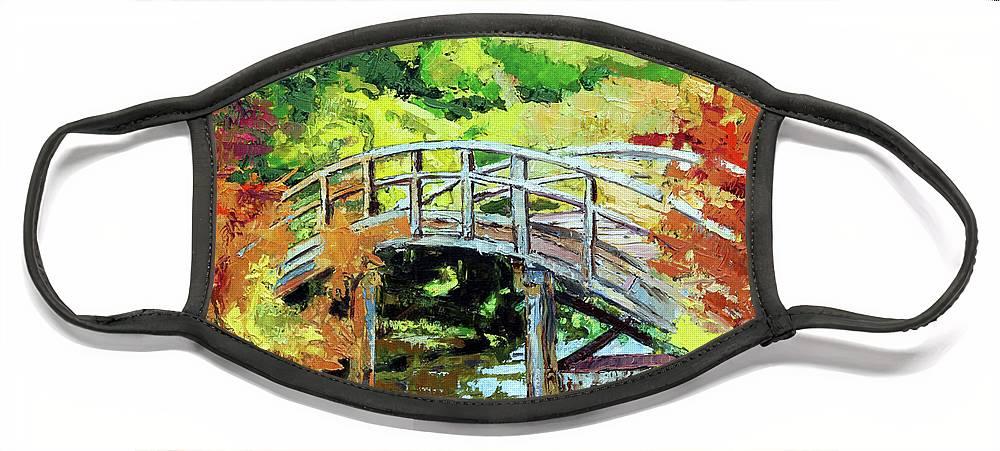 Bridge Face Mask featuring the painting Drum Bridge in Autumn by John Lautermilch