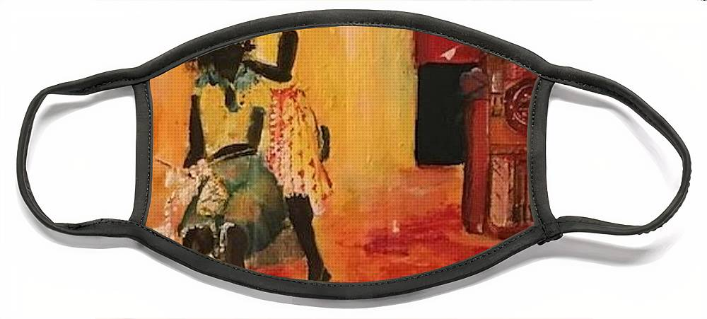 Figurative Face Mask featuring the painting Grooving by Peggy Blood