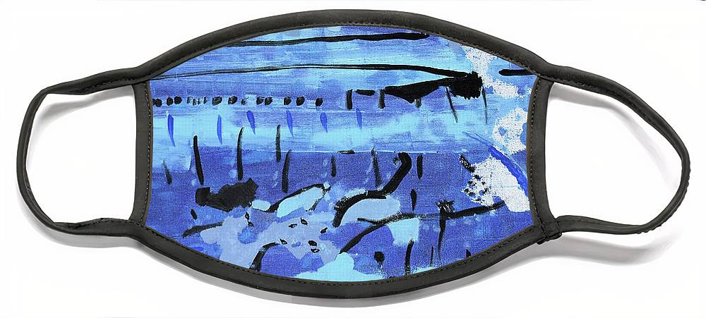 Colorado Face Mask featuring the painting Something Blue by Pam Roth O'Mara