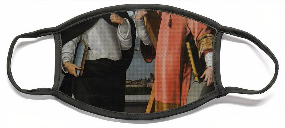 Afortunado Face Mask featuring the painting St Vicent Ferrer and St Vicent Martyr by Miquel Joan Porta