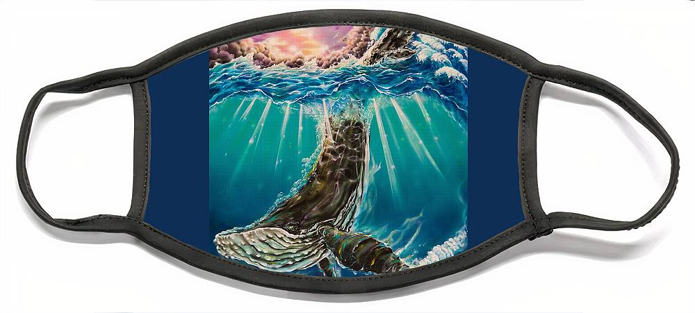 Aloha Face Mask featuring the painting The Dive by Joel Salinas III
