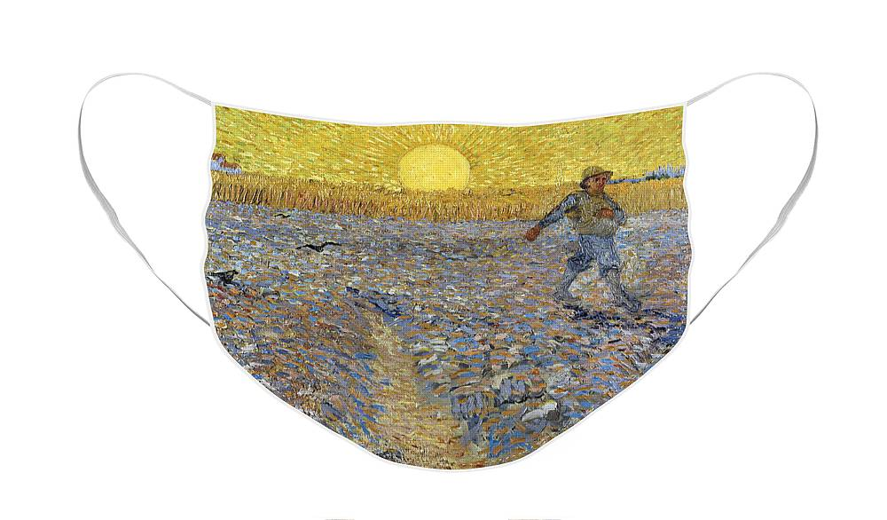 The Sower Face Mask featuring the painting The Sower, 1888 by Vincent Van Gogh