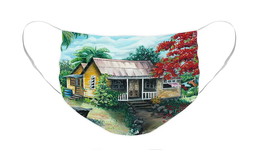 Landscape Painting Caribbean Painting Tropical Painting Island House Painting Poinciana Flamboyant Tree Painting Trinidad And Tobago Painting Face Mask featuring the painting Trinidad Life by Karin Dawn Kelshall- Best