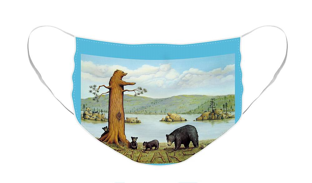 Bears Face Mask featuring the painting 27 Bears by Jerome Stumphauzer