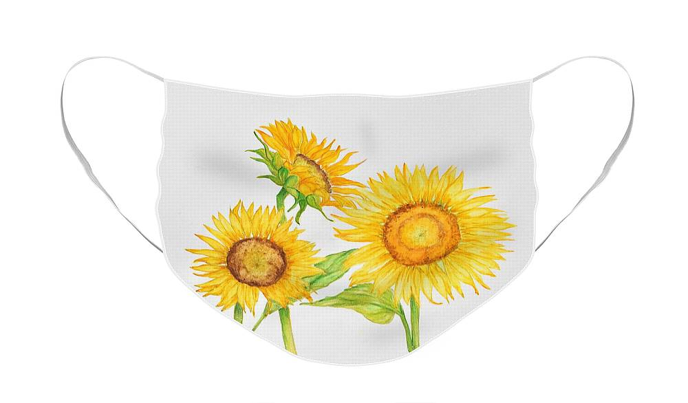 Sunflowers Face Mask featuring the painting 3 Sunflowers by Mary Gwyn Bowen