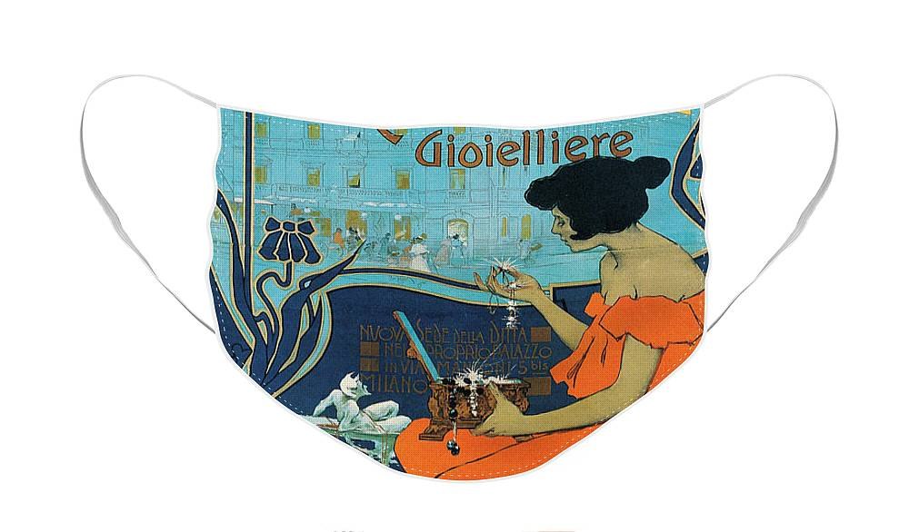 Diamond Face Mask featuring the painting A Calderoni Gioielliere, Milan, 1898 by Adolfo Hohenstein