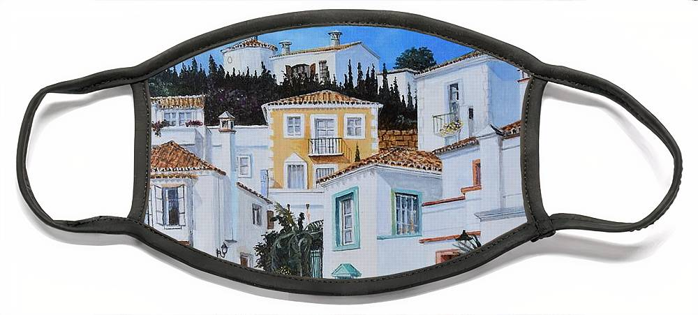 City Face Mask featuring the painting Afternoon Light In Montenegro by Sinisa Saratlic