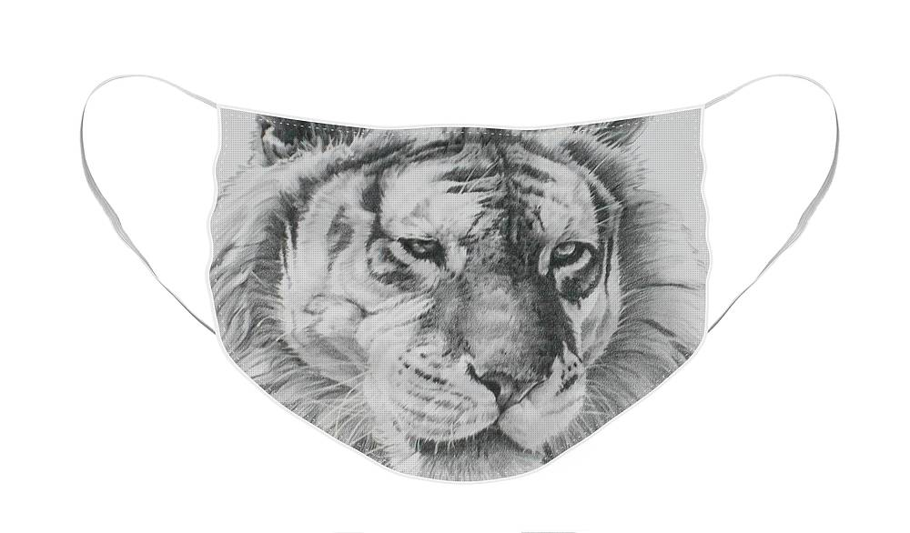 Big Cat Face Mask featuring the drawing An Arresting Beauty by Barbara Keith