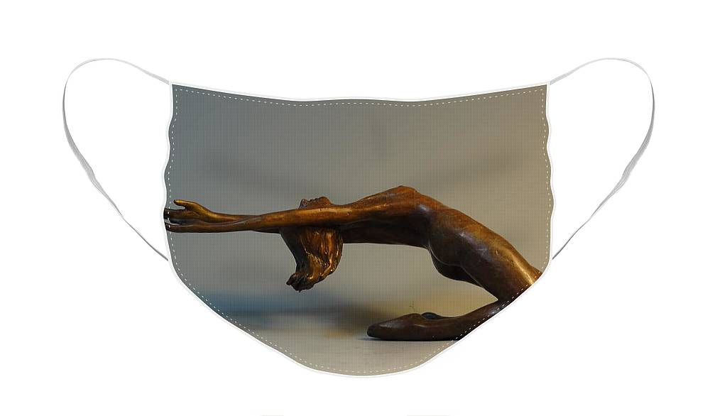 Bronze Face Mask featuring the sculpture Arching Nude by Lisbeth Sabol