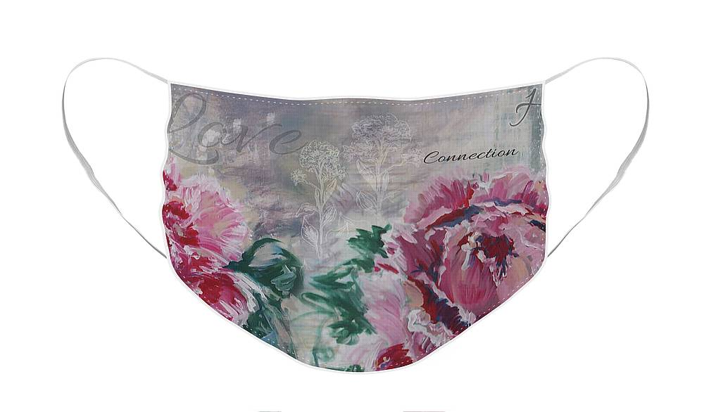 Peonies Face Mask featuring the painting Peony Love by Noelle Rollins