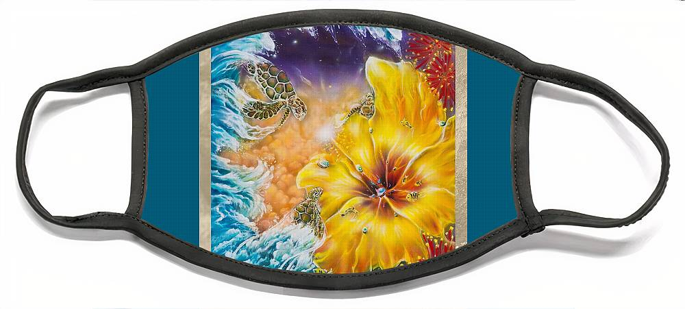 Aloha! Honu Hawaii Art Hibiscus Coral Reefs Flowers Floral Reefs Face Mask featuring the painting Wave of the Honu by Joel Salinas III