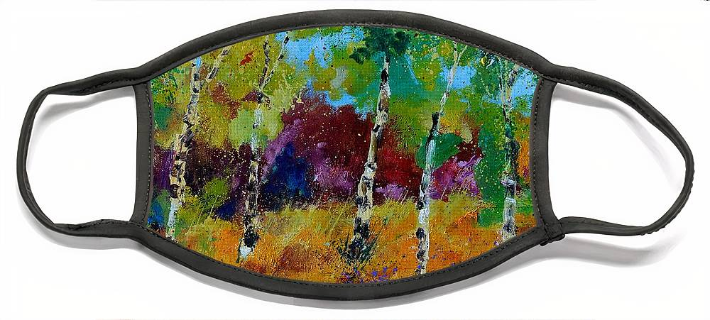 Landscape Face Mask featuring the painting Aspen trees in autumn by Pol Ledent