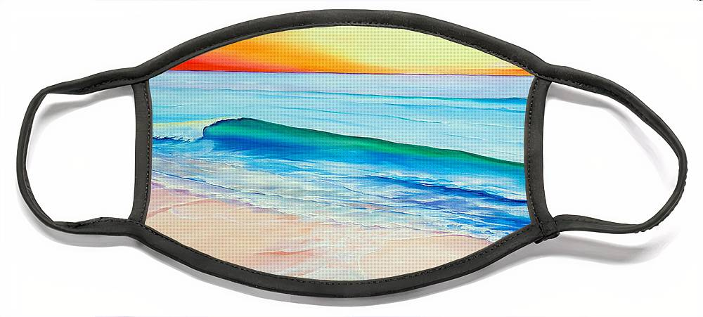 Sunset Painting Sea Painting Beach Painting Sunset Painting  Waves Painting Beach Painting Seaside Painting Seagulls Painting Face Mask featuring the painting At the end of a perfect day by Karin Dawn Kelshall- Best