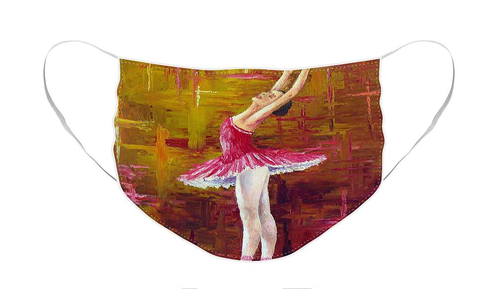 Ballet Face Mask featuring the painting Ballerina by David G Paul