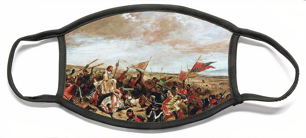 Poitiers Face Mask featuring the painting Battle of Poitiers on September 19, 1356 by Ferdinand Victor Eugene Delacroix