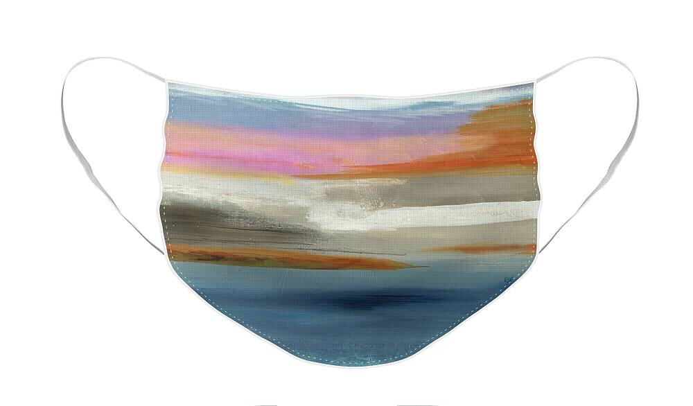 Abstract Face Mask featuring the painting Beach View by Carolyn Rhinebarger