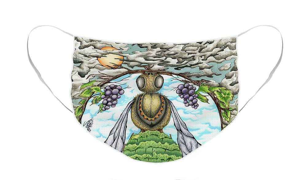 Bee Face Mask featuring the mixed media Bee-utiful Vineyard by Saffrel