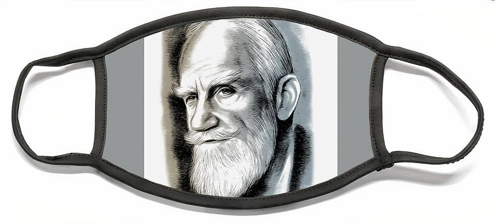 Bernard Shaw Face Mask featuring the mixed media Bernard Shaw - Mixed Media by Greg Joens
