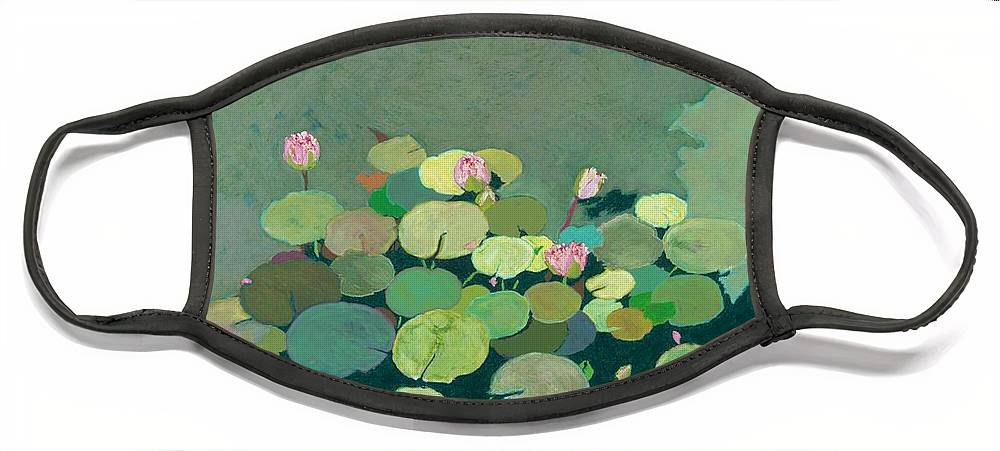 Landscape Face Mask featuring the painting Bettys Serenity Pond by Allan P Friedlander