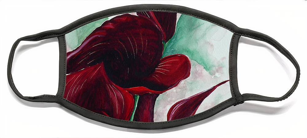 Flower Painting Floral Painting Botanical Painting Tropical Painting Caribbean Painting Calla Painting Red Lily Painting Deep Red Calla Lilies Original Watercolor Painting Face Mask featuring the painting Black Callas by Karin Dawn Kelshall- Best