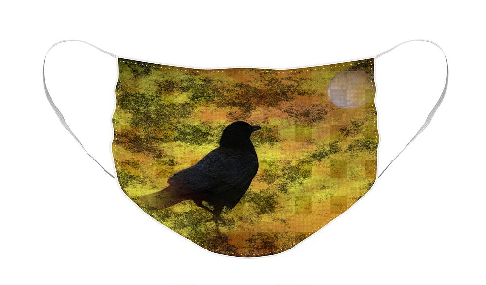 Black Raven Face Mask featuring the photograph Black Raven Staring At The Moon Digital Art by Colleen Cornelius