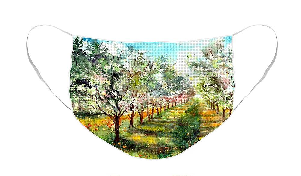 Trees Face Mask featuring the painting Blooming Trees by Suzann Sines