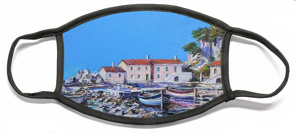 Original Painting Face Mask featuring the painting Blue Bay by Sinisa Saratlic