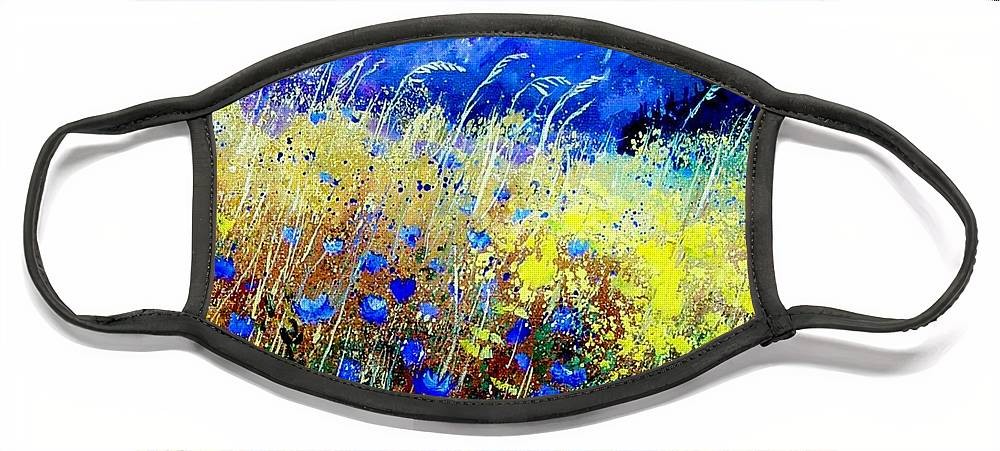 Poppies Face Mask featuring the painting Blue cornflowers 67 by Pol Ledent