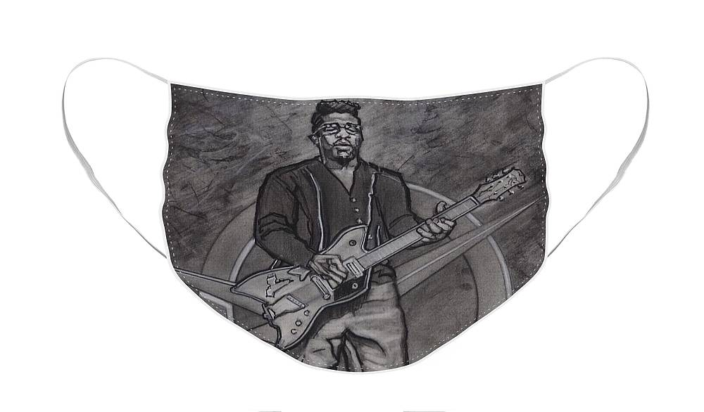 Texas Face Mask featuring the drawing Bo Diddley - Have Guitar Will Travel by Sean Connolly