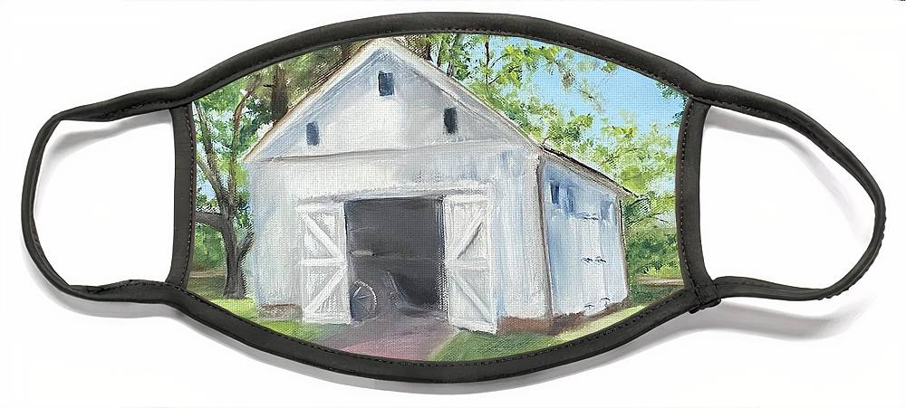 Washington Crossing Face Mask featuring the painting Boat Barn by Sheila Mashaw