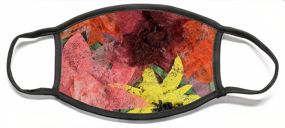 Flowers Face Mask featuring the mixed media Bouquet by Charla Van Vlack