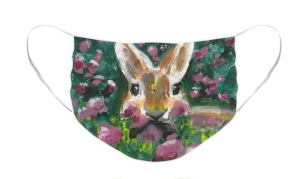Bunny Painting Face Mask featuring the painting Bunny by Monica Resinger