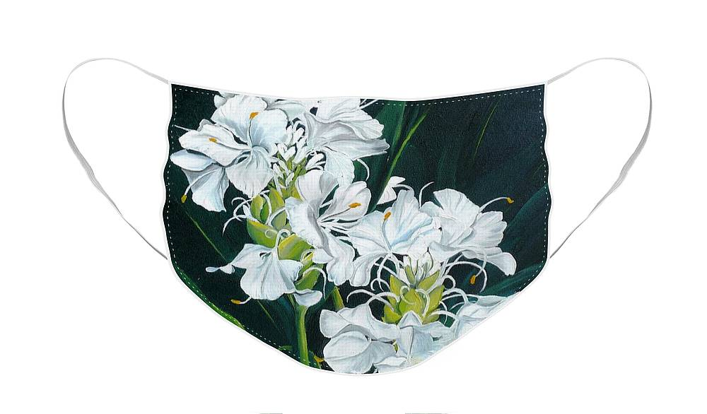Caribbean Painting Butterfly Ginger Painting Floral Painting Botanical Painting Flower Painting Water Ginger Painting Or Water Ginger Tropical Lily Painting Original Oil Painting Trinidad And  Tobago Painting Tropical Painting Lily Painting White Flower Painting Face Mask featuring the painting Butterfly Ginger by Karin Dawn Kelshall- Best