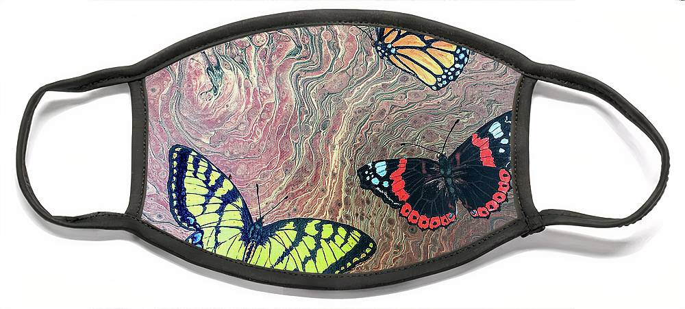 Butterflies Face Mask featuring the painting California Butterflies by Lucy Arnold