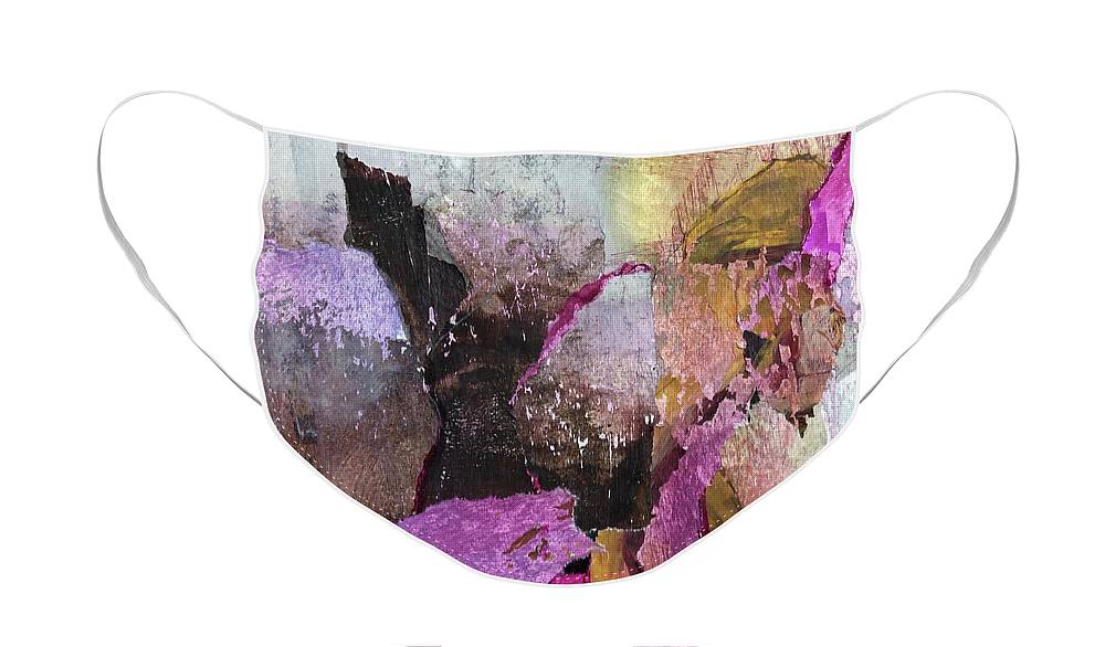 Abstract Face Mask featuring the painting Canyon by Carolyn Rhinebarger