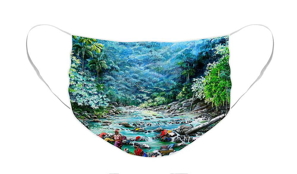 Land Scape Painting River Painting Mountain Painting Rain Forest Painting Washerwomen Painting Laundry Painting Caribbean Painting Tropical Painting Village Washer Women At A Mountain River In Trinidad And Tobago Face Mask featuring the painting Caribbean Wash Day by Karin Dawn Kelshall- Best