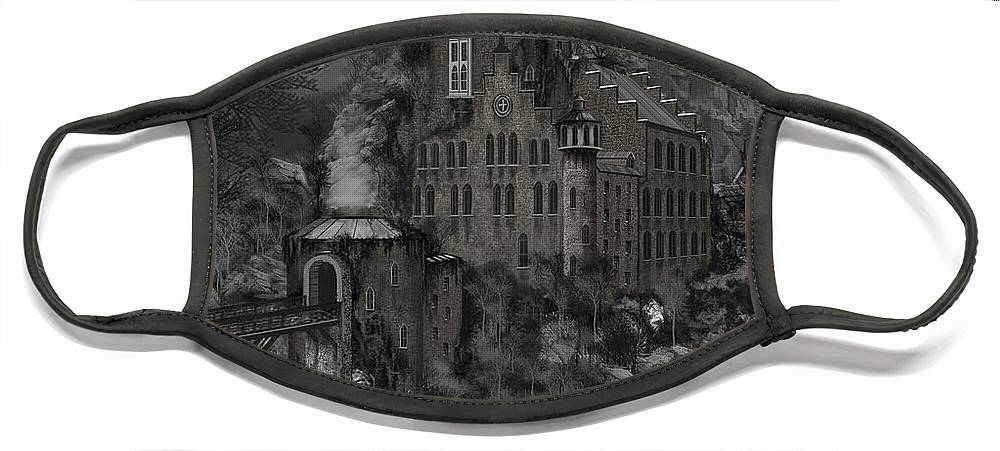 Castle Face Mask featuring the painting Casa Los Diavla by James Christopher Hill