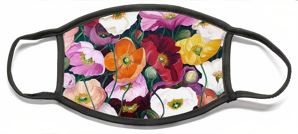 Flower Painting Floral Painting Poppy Painting Icelandic Poppies Painting Botanical Painting Original Oil Paintings Greeting Card Painting Face Mask featuring the painting Cascade Of Poppies by Karin Dawn Kelshall- Best