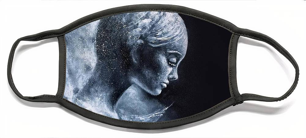 Angel Face Mask featuring the painting Angel Black and White by Natalja Picugina