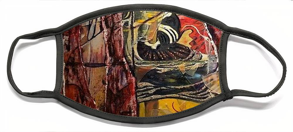 Dancing Face Mask featuring the painting Celebration by Peggy Blood