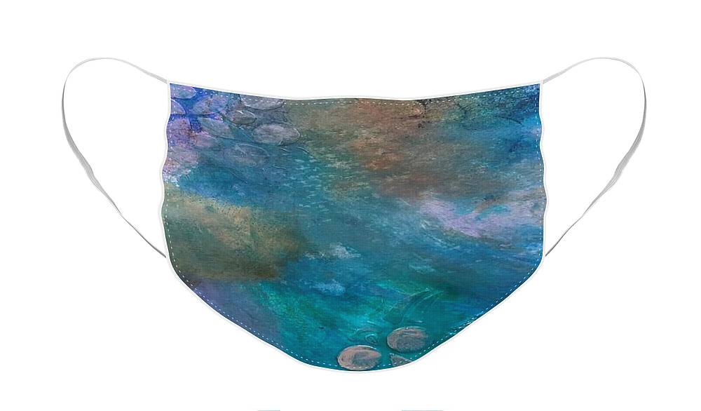 Abstract Face Mask featuring the painting Celestial by Carolyn Rhinebarger
