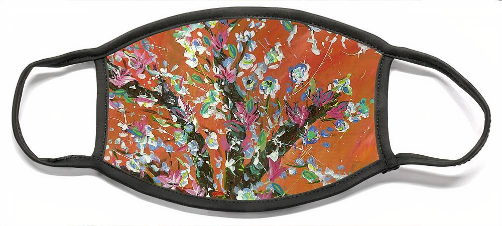 Face Mask featuring the painting Cherry Tree by Britt Miller