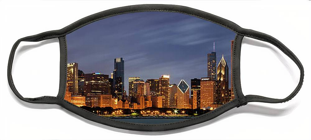 3scape Face Mask featuring the photograph Chicago Skyline at Night Color Panoramic by Adam Romanowicz