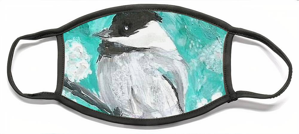 Chickadee Painting Face Mask featuring the painting Chickadee by Monica Resinger