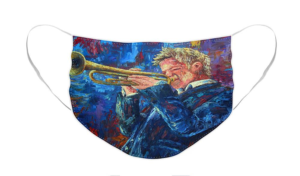 Jazz Face Mask featuring the painting Chris Botti by David G Paul